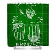 Cocktail Mixer And Strainer Patent 1902 - Green Shower Curtain