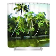 Coconut Trees And Other Plants In A Creek Shower Curtain
