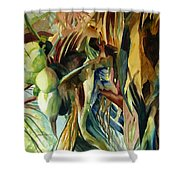 Coconuts And Palm Fronds 5-16-11 Julianne Felton Shower Curtain