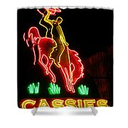 Cody Wyoming Neon Lounge Sign At Night Shower Curtain