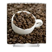 Coffe Beans And Coffee Cup Shower Curtain