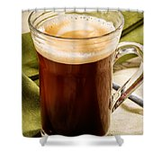 Coffe In Tall Glass On Green Shower Curtain