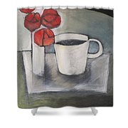 Coffee And Roses Shower Curtain