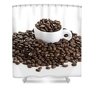 Coffee Beans And Coffee Cup Isolated On White Shower Curtain