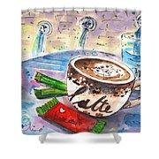 Coffee Break In Spili In Crete Shower Curtain
