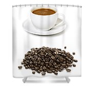 Coffee Cups And Coffee Beans Shower Curtain