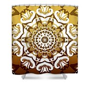 Coffee Flowers 10 Calypso Ornate Medallion Shower Curtain