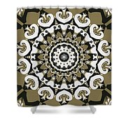 Coffee Flowers 10 Olive Ornate Medallion Shower Curtain