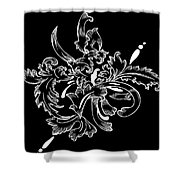 Coffee Flowers 11 Bw Shower Curtain