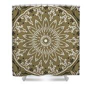 Coffee Flowers 11 Olive Ornate Medallion Shower Curtain