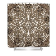 Coffee Flowers 11 Ornate Medallion Shower Curtain