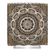 Coffee Flowers 2 Ornate Medallion Shower Curtain