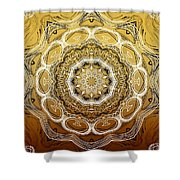 Coffee Flowers 2 Ornate Medallion Calypso Shower Curtain