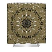 Coffee Flowers 3 Olive Ornate Medallion Shower Curtain