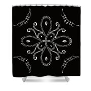Coffee Flowers 4 Bw Ornate Medallion Shower Curtain
