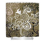 Coffee Flowers 5 Olive Shower Curtain