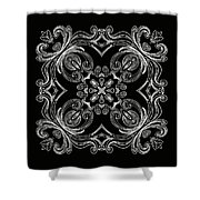 Coffee Flowers 6 Bw Ornate Medallion Shower Curtain