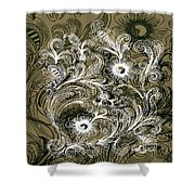 Coffee Flowers 6 Olive Shower Curtain