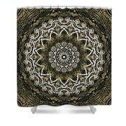 Coffee Flowers 6 Olive Ornate Medallion Shower Curtain