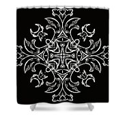 Coffee Flowers 7 Bw Ornate Medallion Shower Curtain by Angelina Vick