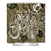Coffee Flowers 7 Olive Shower Curtain