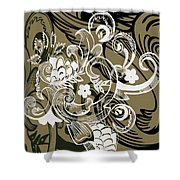 Coffee Flowers 8 Olive Shower Curtain