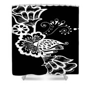 Coffee Flowers 9 Bw Shower Curtain