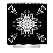 Coffee Flowers 9 Bw Ornate Medallion Shower Curtain
