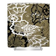 Coffee Flowers 9 Olive Shower Curtain