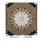 Coffee Flowers 9 Ornate Medallion Shower Curtain