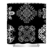 Coffee Flowers Ornate Medallions Bw 6 Peice Collage Shower Curtain