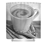 Coffee In Tall Yellow Cup Black And White Shower Curtain