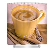 Coffee In Yellow Cup Shower Curtain