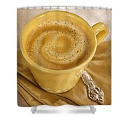 Coffee In Yellow Shower Curtain