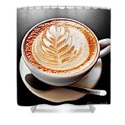 Coffee Latte With Foam Art Shower Curtain by Elena Elisseeva