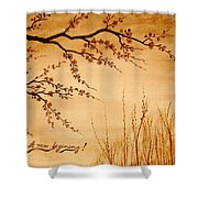 Coffee Painting Cherry Blossoms Shower Curtain