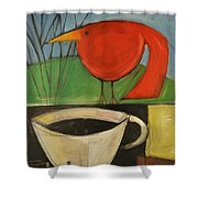 coffee with red bird II Shower Curtain
