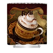 Coffee With Whipped Topping And Chocolates Shower Curtain