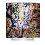 Coffeehouse Of The Mind Shower Curtain