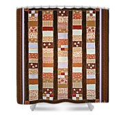 Coin Quilt -  Painting - Brown And White Patches Shower Curtain