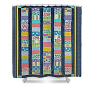 Coin Quilt -  Painting - Multicolors - Borders Shower Curtain
