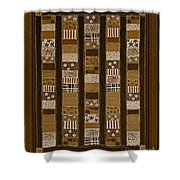 Coin Quilt - Painting - Sepia Patches Shower Curtain