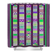 Coin Quilt - Quilt Painting - Purple And Green Patches Shower Curtain