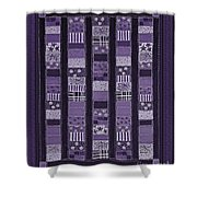 Coin Quilt -quilt Painting - Purple Patches Shower Curtain