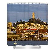 Coit Tower Golden Hour Shower Curtain