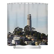 Coit Tower On Telegraph Hill Panorama Shower Curtain