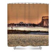 Colbalt And Bridge Shower Curtain