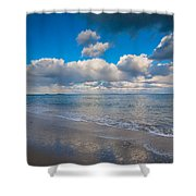 Cold And Windy Beach Day Shower Curtain