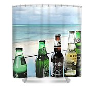Cold Beers In Paradise Shower Curtain by Joan  Minchak