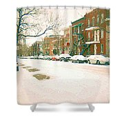 Cold Day In Montreal Pointe St Charles Art Winter Cityscene Painting After Big Snowfall Psc Cspandau Shower Curtain